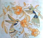 Humming Bird Flower Medley Gold Work Kit- Kathleen Laurel Sage