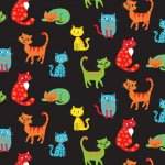 Happy Paws Cats Cotton Fabric