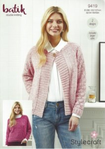 Stylecraft Batik DK - Cardigan and Sweater Pattern 9419