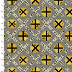 Autumn Steam Cotton Fabric - Railroad Crossing 16591