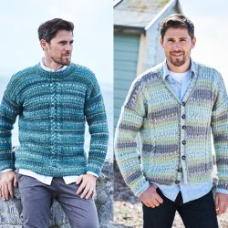 Stylecraft Life Heritage Mens Broken Rib & Cable Sweater and Cardigan - Pattern 9573