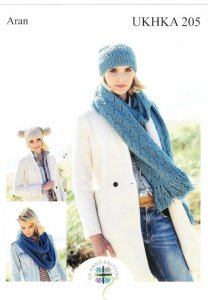 UKHKA 205 Aran Scarves & Hats Pattern