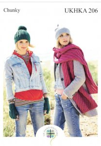 UKHKA 206 Chunky Gloves, Boot Toppers, Scarf & Hat Pattern