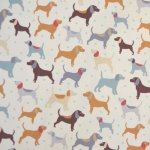 Cotton Duck (Canvas) dogs on cream background - Horton FUR006/B