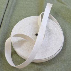 Cream Polyester Webbing from La Stephanoise, 25mm Wide