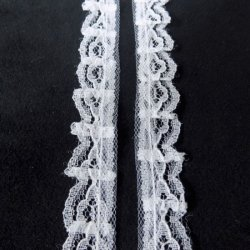 17mm White Gathered Lace