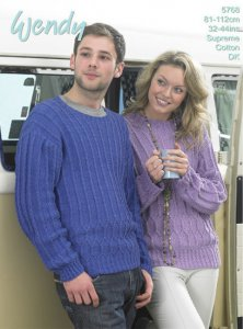 Wendy Supreme Cotton DK - His and Hers Textured Sweater 5768
