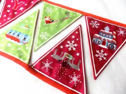Christmas Glow Bunting C52.3 Green/Red from Lewis & Irene