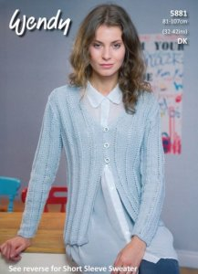 Wendy DK 5881- Long Sleeve Cardigan and Short Sleeve Sweater