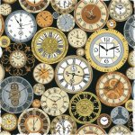 Vintage Clocks Cotton Fabric