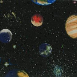 Glitter Solar Planets Cotton Fabric