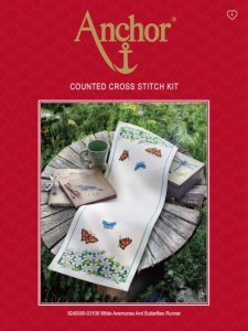 "Anchor Table Runner Counted Cross Stitch Kit ""White Anemones and Butterflies"" 9240000-03109"