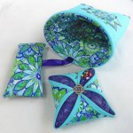 Cathedral Window Pin Cushion and Scrap Bag Kit designed by Jon Massey