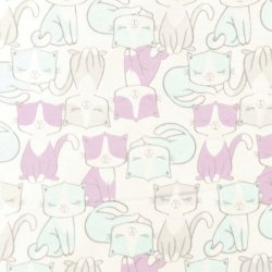 "Brushed Cotton Fabric ""Cats"" on a White Background"