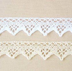 "Jomil ""Cluny"" 25mm Cotton Lace 139 Ecru and White"