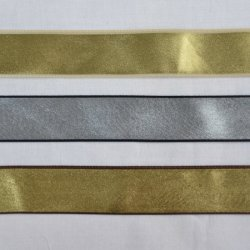Gold and Silver Metallic Shiny Ribbon, Two tone, Reversible