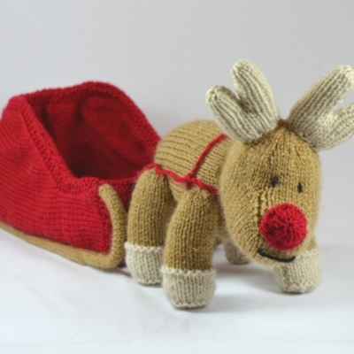 Knitting By Post Reindeer And Sleigh Double Knit Pattern Reindeer