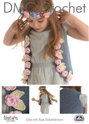 DMC Crochet - Gilet With Rose Embellishment 15267L/2 - Click Image to Close