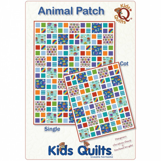 Animal Patch Single Quilt Pattern by Kids Quilts QLT091 - Click Image to Close