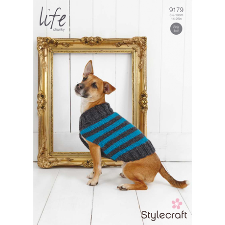 Stylecraft Life Chunky Striped Dog Coat Pattern 9179 - Click Image to Close