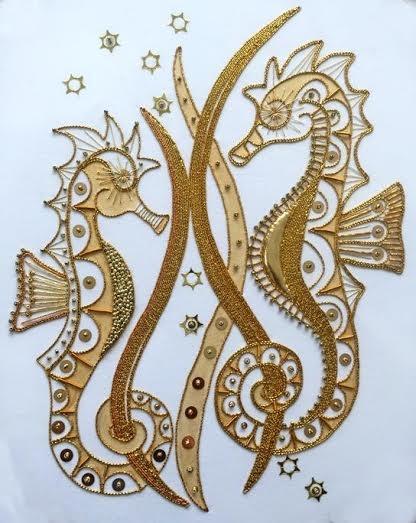 Gold Work Sea Horse Kit Kathleen Laurel Sage Gold Work Sea Horse