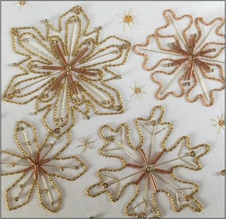 Gold Work Golden Winter Snowflake Kit Kathleen Laurel Sage Gold