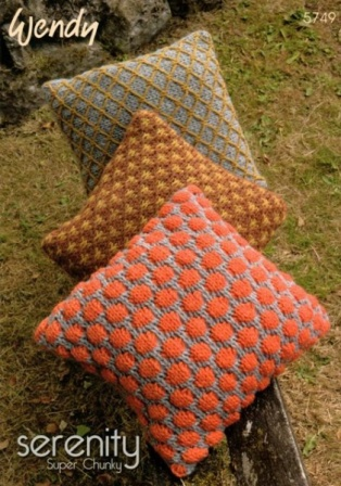 Wendy Serenity Super Chunky Cushion Pattern 5749 Knitted Cushion