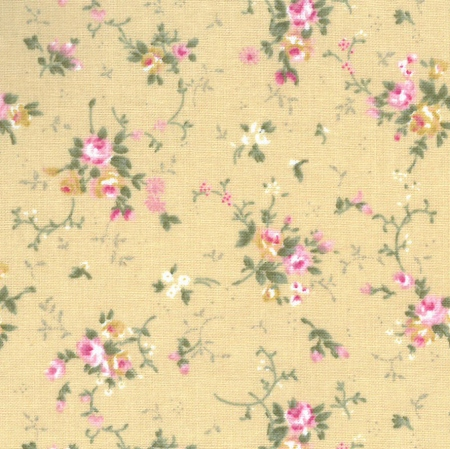 Small Floral FF3/4 Beige from Fabric Freedom - Click Image to Close